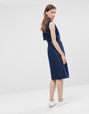 photo Long Trench Denim Dress by Only, color Dark Blue - Image 2