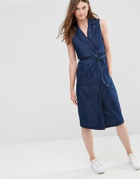 photo Long Trench Denim Dress by Only, color Dark Blue - Image 1