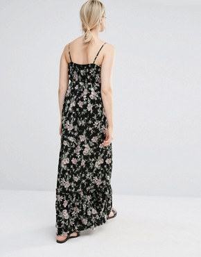 photo Ruffle Floral Maxi Dress by New Look Maternity, color Black - Image 2