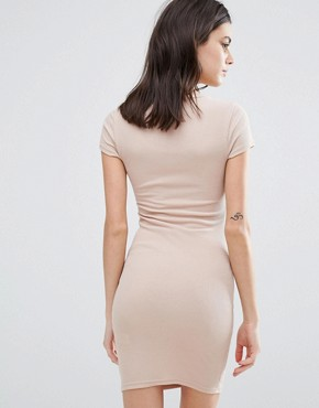 photo Zip Front 90s Bodycon Dress by New Look Petite, color Oatmeal - Image 2