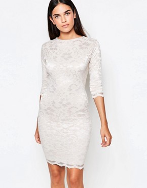 photo 3/4 Sleeve Lace Bodycon Dress With Cut Out Back by Honor Gold, color Nude - Image 2