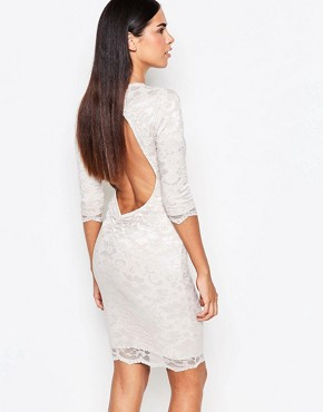 photo 3/4 Sleeve Lace Bodycon Dress With Cut Out Back by Honor Gold, color Nude - Image 1