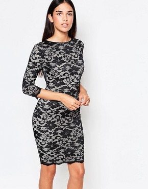 photo 3/4 Sleeve Lace Bodycon Dress With Cut Out Back by Honor Gold, color Black/Nude - Image 2