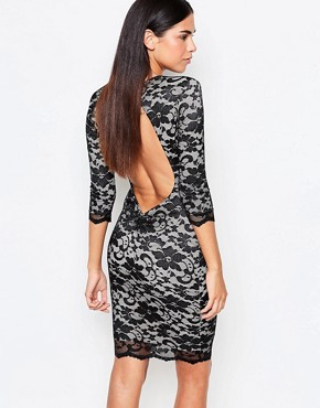 photo 3/4 Sleeve Lace Bodycon Dress With Cut Out Back by Honor Gold, color Black/Nude - Image 1