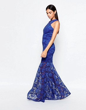 photo Lace Fishtail Maxi Dress by Honor Gold, color Blue - Image 1