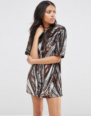 photo Flash Dress In 70s Sequin by Motel, color Silver/Gold - Image 1