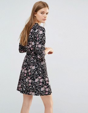photo Floral Print Mini Dress With 3/4 Sleeves by Yumi, color Black - Image 2