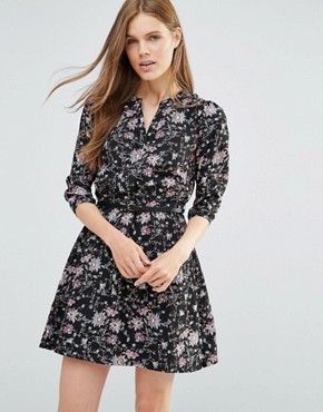 photo Floral Print Mini Dress With 3/4 Sleeves by Yumi, color Black - Image 1