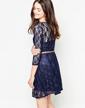 photo Belted Long Sleeve Lace Dress by Mela Loves London, color Navy - Image 2