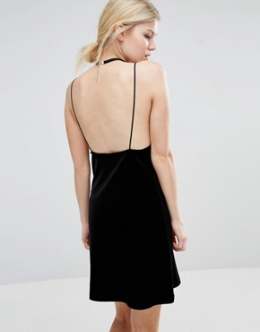 photo Velvet Cami Dress by Vero Moda Petite, color Black - Image 2