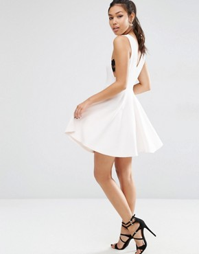 photo Full Mini Dress with Lace Side Panel Detail by ASOS, color Nude - Image 2