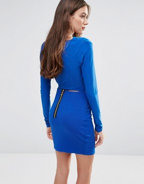 photo Long Sleeve Wrap Front Pencil Dress by Hedonia, color Cobalt - Image 2