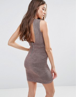 photo Sleeveless Lurex Glitter Patterned Bodycon Dress by Hedonia, color Mink Sparkle - Image 2