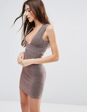 photo Sleeveless Lurex Glitter Patterned Bodycon Dress by Hedonia, color Mink Sparkle - Image 1