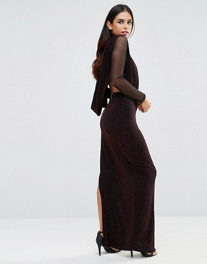photo Deep V Maxi Dress with Sheer Sleeves by Hedonia, color Red Sparkle - Image 2