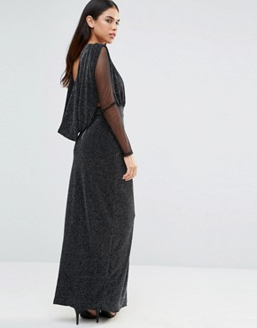 photo Deep V Maxi Dress with Sheer Sleeves by Hedonia, color Silver Sparkle - Image 2
