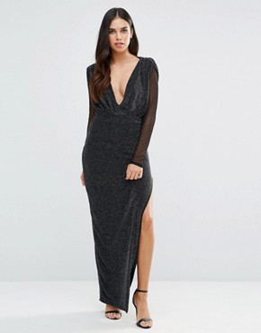 619f682e8a Deep V Maxi Dress with Sheer Sleeves by Hedonia - Silver Sparkle