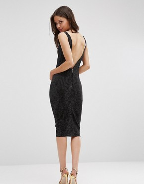 photo Midi Cami Dress with Glitter Thread by Hedonia, color Silver Sparkle - Image 2