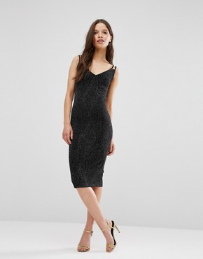 photo Midi Cami Dress with Glitter Thread by Hedonia, color Silver Sparkle - Image 1