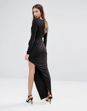 photo Long Sleeve Maxi Dress with Cut Out Detail by Hedonia, color Black - Image 2