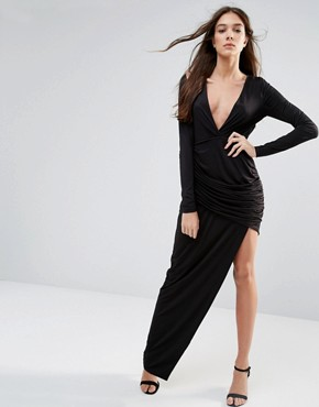 photo Long Sleeve Maxi Dress with Cut Out Detail by Hedonia, color Black - Image 1
