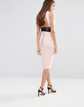 photo Midi Pencil Dress with Lace Inserts by Hedonia, color Blush - Image 2
