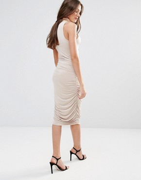 photo High Neck Pencil Midi Dress by Hedonia, color Camel - Image 2