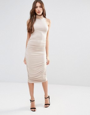 photo High Neck Pencil Midi Dress by Hedonia, color Camel - Image 1