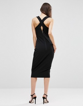 photo Midi Pencil Dress with Lace Front by Hedonia, color Black - Image 2