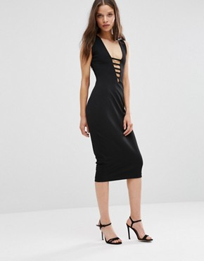 photo Midi Pencil Dress with Lace Front by Hedonia, color Black - Image 1