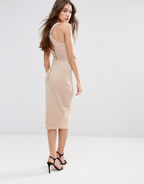 photo Midi Pencil Dress With Lace Front by Hedonia, color Camel - Image 2