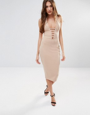 photo Midi Pencil Dress With Lace Front by Hedonia, color Camel - Image 1