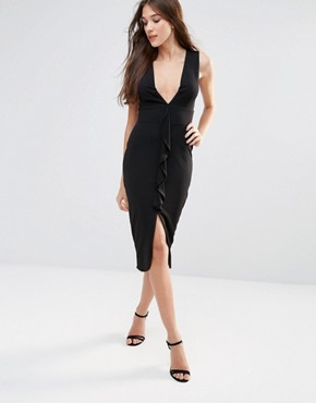 photo Sleeveless Midi Dress with Ruffle Detail by Hedonia, color Black - Image 1
