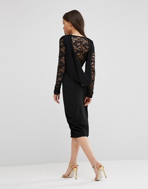 photo Pencil Dress with Lace Sleeves by Hedonia, color Black - Image 2