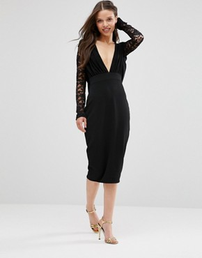 photo Pencil Dress with Lace Sleeves by Hedonia, color Black - Image 1