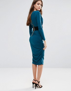 photo Long Sleeve Pencil Dress with Contrast Waist Band by Hedonia, color Teal - Image 2