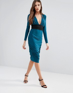 photo Long Sleeve Pencil Dress with Contrast Waist Band by Hedonia, color Teal - Image 1
