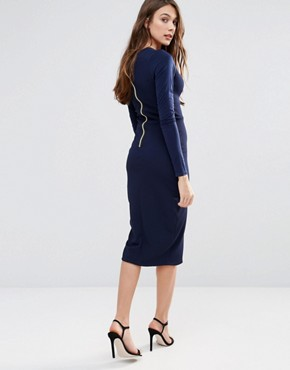photo Long Sleeve Pencil Dress with Ruffle Detail by Hedonia, color Navy - Image 2