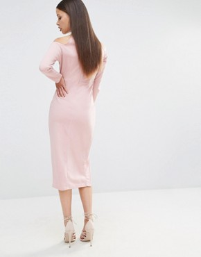 photo Bardot Pencil Dress with Neck Detail and Thigh Split by NaaNaa Petite, color Mauve - Image 2