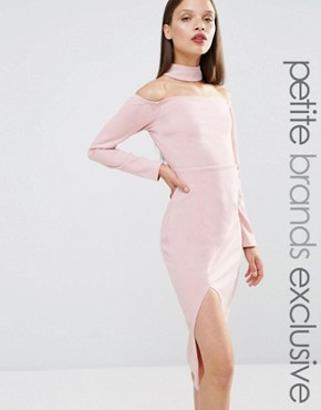 photo Bardot Pencil Dress with Neck Detail and Thigh Split by NaaNaa Petite, color Mauve - Image 1