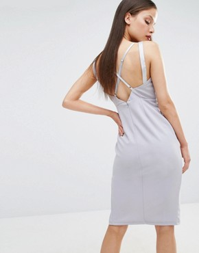 photo Cut Out Plunge Pencil Dress by NaaNaa Petite, color Light Lavender - Image 2