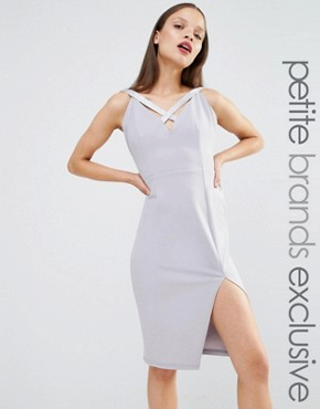 photo Cut Out Plunge Pencil Dress by NaaNaa Petite, color Light Lavender - Image 1