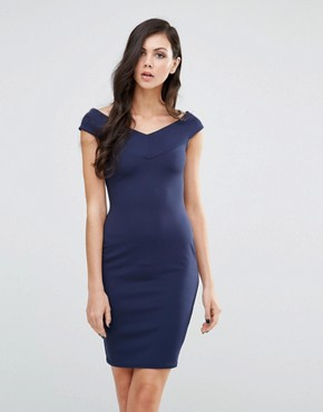 photo Bardot Pencil Dress by Lipstick Boutique, color Navy - Image 1