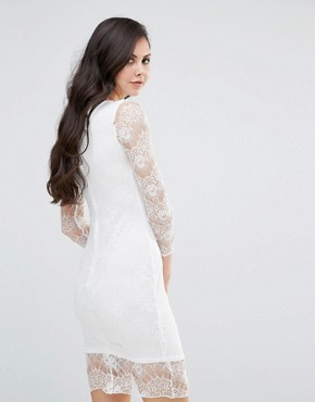 photo Long Sleeve Bodycon Dress with Lace Sleeves by Lipstick Boutique, color Ivory - Image 2