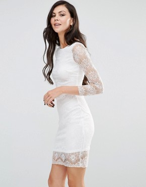 photo Long Sleeve Bodycon Dress with Lace Sleeves by Lipstick Boutique, color Ivory - Image 1