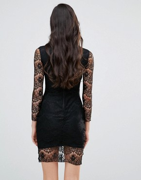 photo Long Sleeve Bodycon Dress with Lace Sleeves by Lipstick Boutique, color Black - Image 2