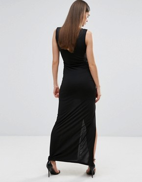 photo Maxi Dress with Front Split and Metal Detail by Sistaglam, color Black - Image 2