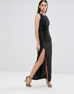 photo Maxi Dress with Front Split and Metal Detail by Sistaglam, color Black - Image 1