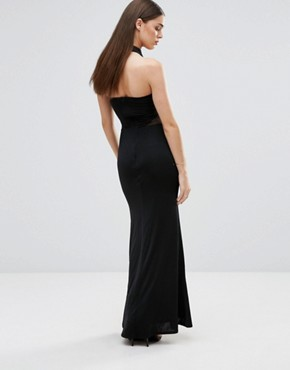 photo Halterneck Maxi Dress with Mesh Inserts by Sistaglam, color Black - Image 2