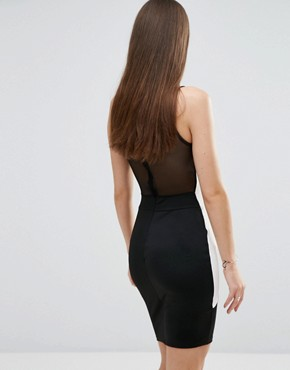 photo Colourblock Bodycon Dress with Mesh Detail by Sistaglam, color Black - Image 2